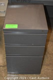 Gray Three Drawer Filing Cabinet