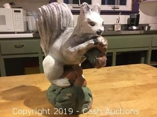 Vintage Cast Concrete Garden Statue: Squirrel