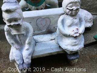 Vintage Cast Concrete Garden Statue: Couple on Bench