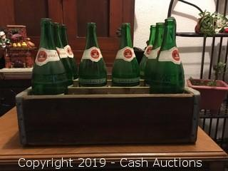 1960's Johnnie Ryan Ginger Ale Bottles w/ Wooden Crate