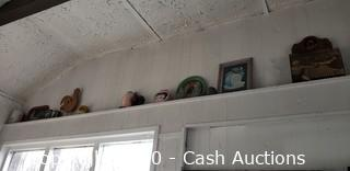 Large Lot of Decor on Walls, Sills & Shelves