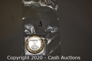 Reno Hilton Hotel Collectible .999 Silver Token