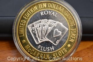"McCarran ""Royal Flush"" .999 Silver Gilded Collectors Gaming Token"