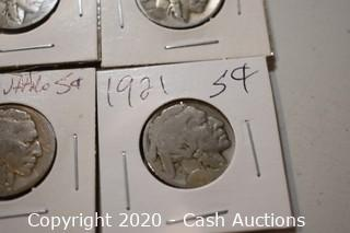 Lot of (4) Ungraded 1921 Buffalo Nickels
