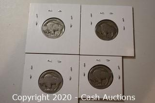 Lot of (4) Ungraded 1928 Buffalo Nickels