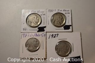 Lot of (4) Ungraded 1927 Buffalo Nickels