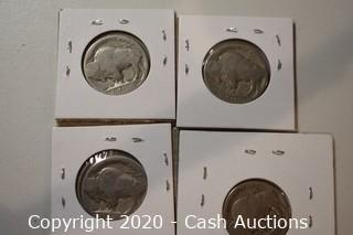 Lot of (4) Ungraded 1924 Buffalo Nickels