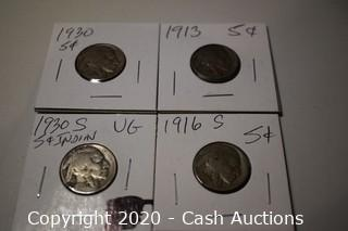 Lot of (4) Ungraded Misc Date Buffalo Nickels