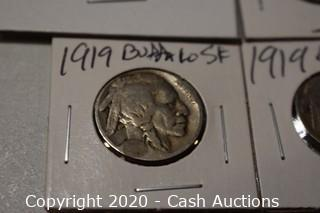 Lot of (4) Ungraded 1919 Buffalo Nickels