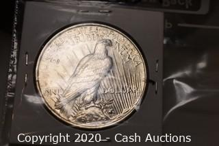 1923 Ungraded Silver Peace Dollar