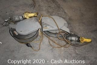 (2) Appleton Cord Reels w/ Pair of Shop Lights