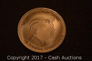 "2016 Silver Shield ""He Shall Overcomb"" Donald Trump .999 Silver 1 Troy oz"